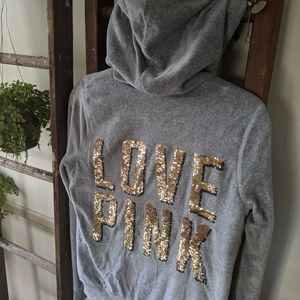 🎁 PINK faux fur lined bling sequin hoodie Sz S
